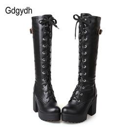 e20cbf401c ... 2018 Outono Lacing Na Altura Do Joelho Botas Altas Mulheres Moda Sapatos  de Couro Mulher Sapatos de Salto Quadrado Branco Inverno Tamanho Grande 34- 43