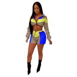 China Reflective Two Piece Set Tracksuits For Women Color Block Crop Top And Bodycon Shorts Casual Club Outfits Plus Size Sweatsuits J190507 cheap plus size piece crop top skirt suppliers