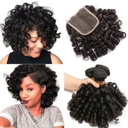peruvian curly hair closure 2019 - 3 Bundle deals Bouncy Curly Human Hair Weave Bundles With Closure Funmi Peruvian Hair Bundles with closure Non Remy 1B c