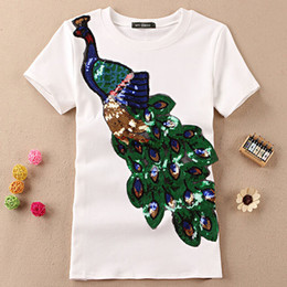 Sequin Animal Tee Shirts NZ - New fashion women elegant Peacock O T-shirt collar female sequins embroidery Casual t shirt Top Tees Plus size S-4XL free shipping WGNVTX26