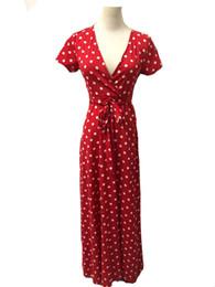 Ribbon Print Australia - Women dress fashion Short sleeve Sexy Deep V-neck Split Ribbon vest Sling print Polka Dot Lady Casual Long Dresses skirt Size S-XL D4