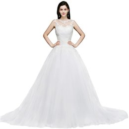 Wholesale Latest Hot Sell Ball Gown Wedding Dresses Sheer Neck Appliques Fitted with Buttons Back Long Train Formal Church Garden Bridal Gowns