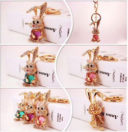 $enCountryForm.capitalKeyWord Australia - Bling Bling Crystal Rhinestone rabbit Keychain Keyring Handbag Pendant Car Key Chain Ring Metal Keychain Long ears rabbit Keychain Best