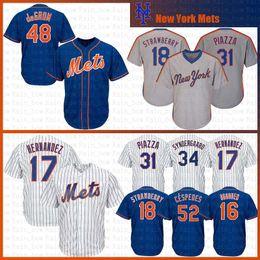 New 52 Yoenis Cespedes New York Mets 34 Noah Syndergaard Baseball Jersey 18 Darryl  Strawberry 31 Piazza Gooden Hernandez deGrom 30 Conforto 58836efc4