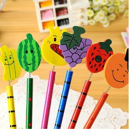 wholesale children pens UK - cute cartoon fruit style wooden pencil for baby children gifts   personalised office school pencil 18pcs lot