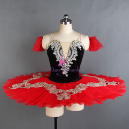 red tutus for women Australia - Black Red Pre-Professional Ballet Dance Tutus with 7 Layers Pleated Tutu for Girls and Women Ballet Dancing Tutu Dress BLL124