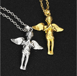 wholesale hip hop jewelry pendants Australia - European and American fashion trend hip-hop gilded Angel Necklace personality Angel Wing Pendant cartoon Necklace Jewelry