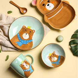 $enCountryForm.capitalKeyWord Australia - Cartoon Animal Ceramic Dinnerware Set for Kids Children Toddler Baby Hand Painted Khaki Bear Feeding Tray Plates Dish Bowl Mug Spoon