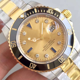 mens sapphire crystal sport watches Australia - 40MM Luminous Gold Dial Automatic Mechanical Sapphire Crystal Mens Watch 316L Two Tone Stainless Steel Watches Auto Date Man Wristwatches