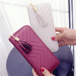 Eco friEndly zippErs online shopping - Simplicity Student Zipper Wallet Leather Mobile Phone Bag Personality Clutch Checkbook Tassel Handbag Long Card Holder Hot Sale ydH1