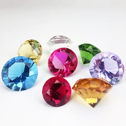 Crystal Lighting China Australia - 80mm Mix Color Crystal Diamond Shape Paperweight Glass Gem Display Ornament Home And Wedding Art Craft Gifts