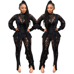 $enCountryForm.capitalKeyWord UK - Long Sleeve Sexy Sheer Black Lace Jumpsuit Bodysuit Women See Through Ruffle Party Club Wear One Piece Bodycon Jumpsuit Rompers T5190614