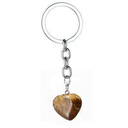 tiger eyes pendant NZ - 12PC Wholesale Natural Stone Quartz Love Heart Tiger Eyes Pendant Charm Keychain For Women Family Friends Keyring Jewelry Gifts