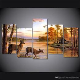 $enCountryForm.capitalKeyWord Australia - Deer Drink Water ,5 Pieces Home Decor HD Printed Modern Art Painting on Canvas (Unframed Framed)