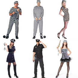 Balle de fête Cosplay Costume Halloween COS Prisonnier Prisonnier Stage Costume Adulte Hommes Femmes Striped Prisonnier Juges Costume PProps Set 06 on Sale