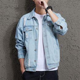 $enCountryForm.capitalKeyWord Australia - 2019 Cotton Solid Denim Jacket Mens Spring Autumn Casual Slim Fit Bomber Jackets Mens Hole Jean Jacket Outwear Male Cowboy