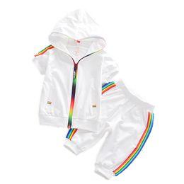 $enCountryForm.capitalKeyWord UK - Fashion Kids Boy Girl Clothes Sportswear Summer Baby Colorful Hoodies Shorts 2pcs sets Children Outfit Toddler Cotton Tracksutis