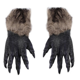animal claw gloves Canada - One Pair Classic Halloween Werewolf Wolf Paws Claws Cosplay Gloves Creepy Costume Party Fashion Wholesale Drop