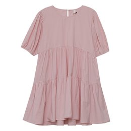 style ball Australia - Pink Cotton Princess Styke Dress Ball Gown Young Style Solid Knee-Length Short Lantern Sleeve O-Neck Summer 2020 Dresses