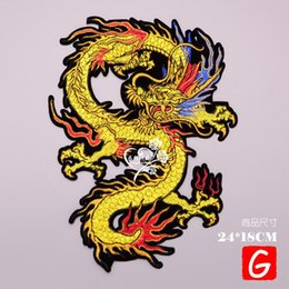 Dragon Patches Australia - GUGUTREE embroidery big dragon patches animal patches badges applique patches for clothing DX-29
