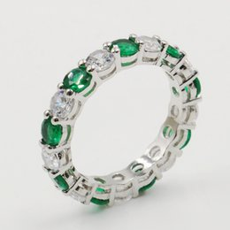 Silver Emerald Jewelry Australia - Size 5-10 Drop Shipping High Quality Luxury Jewelry 925 Sterling Silver Emerald Gemstones CZ Diamond Lucky Wedding Engagement Band Ring Set