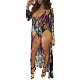 Cardigan Dresses UK - 2 PCS Suit One Piece Swimsuit Cover Up 2018 Women Sexy Beach Cover-Ups Long Dress Printed Beach Cardigan Bathing Suit Cover