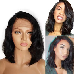 large human hair glueless wig Australia - Glueless Short Bob Wavy Full Lace Wig Brazilian Virgin Human Hair Lace Front Wig For White Women