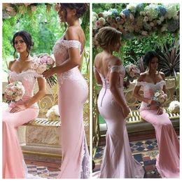Wedding Dresses Juniors Australia - 2019 Cheap African Pink Bridesmaid Dresses Off Shoulder Mermaid Wedding Guest Wear Lace Appliques Plus Size Long Junior Maid of Honor Gowns