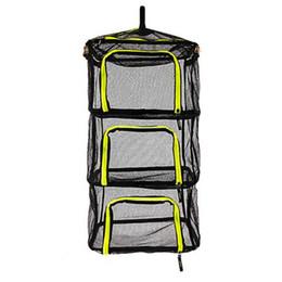 Foldable hangers online shopping - Foldable Layers Fish Net Drying Rack Folding Mesh Hanging Vegetable Dishes Dryer Hanger Suspension Fishing Net