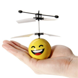 Wholesale Toys Helicopter NZ - Hand Induction Flying Facial Expression Toys Mini RC drone Flying RC Helicopter Aircraft drone for Kids Toy