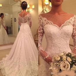 $enCountryForm.capitalKeyWord NZ - Gorgeous Long Sleeve Lace Wedding DressesI 2019 Bridal Gowns Zipper Back Mopping Long Section Tiered Skirts Sheer Neck Straps Wedding Gowns