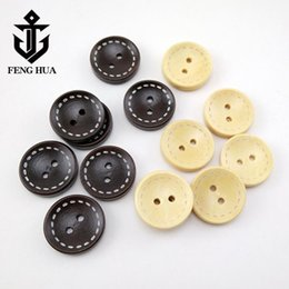 wooden buttons accessories Australia - 1000pcs natural wood buttons 2 holes round buttons coat buttons wooden scrapbook