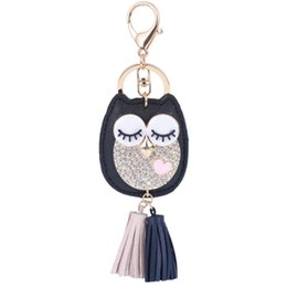 $enCountryForm.capitalKeyWord UK - crystal owl keychain cute leather blink owl tassels key ring phone or handbag pendant