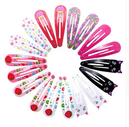 Metal Color Hair Clips Australia - 90pcs 5cm Hairpins Snap Hair Clips for Children Girls Hair Accessories Baby Cute Hair Clip Pins Cat Color Metal Printed Barrette