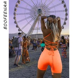 Women Orange Jumpsuits Australia - Boofeenaa Sexy Open Back Strappy Lace Up Bodycon Romper Shorts Neon Green Orange Club One Piece Outfits Women Jumpsuit C87-i67 Y19060501