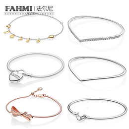 b7addfa7f FAHMI 100% 925 Sterling Silver Shine Loved Script Bracelet Shining Wish  Bangle Heart Padlock Clasp MOMENTS Smooth Bracelet