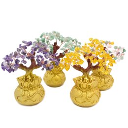 Wholesale 6 Inch Tall Mini Crystal Money Tree Bonsai Style Wealth Luck Feng Shui Bring Wealth Luck Home Decor Birthday Gift Decorative Figurines