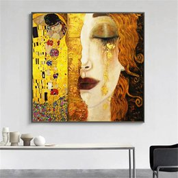 gustav klimt paintings NZ - Gustav Klimt Golden Tears And Kiss,HD Canvas Printing New Home Decoration Art Painting (Unframed Framed)