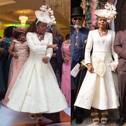 Ivory Pink Mother Dress Australia - 2019 Ivory Mother Of The Bride Dresses V Neck Print Satin Tea Length Elegant Wedding Guest Dress Plus Size Formal Occasion Evening Gowns