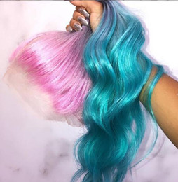 Lace Wig Blue Ombre Australia - Long Gradient 3 Colored Pink violet Blue Ombre Hair 100% Human Hair Lace Wig for Party