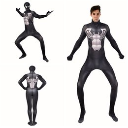 $enCountryForm.capitalKeyWord Australia - Halloween Black 3D Venom Symbiote Spider Stretch Cosplay Costume Superhero Lycar Spandex High Quality Zentai Bodysuit Catsuit Jumpsuit