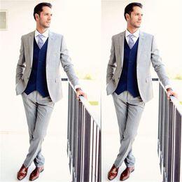 Images Fashionable Suits Australia - Fashionable Silver Grey Groomsmen Notch Lapel Groom Tuxedos Men Suits Wedding Prom Dinner Best Man Blazer(Jacket+Pants+Tie+Vest) A178