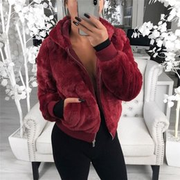 winter warm hoodie zip up NZ - 2019 Winter Women Hoodie Warm Long Sleeve Fleece Jackets Crop Tops Zip Up Punk Outwear Coats with Pockets Large size Short CoatMX190929