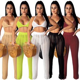 $enCountryForm.capitalKeyWord Australia - 2019 Women Summer Knitted Hollow Out Halter Neck Bra Top Straight Pants Suit Two Piece Set Sexy Party Tracksuit Outfit