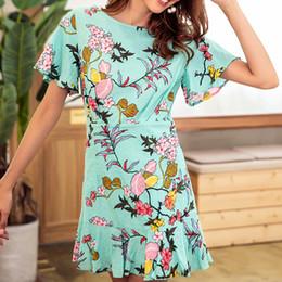 7661dd1e1ef Women Butterfly Sleeve A-line Dress 2019 Summer Beach Floral Print Ruffles Dress  Casual Girl O-neck Mini Dresses Sundress
