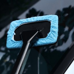 Car Wash Wiper Australia - Soft Silicone Microfiber Car Window Wash Long Handle Cleaning Brush Cleaner Windshield Wiper Squeegee Washable Glass Drying Wipe