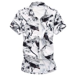 mens shorts 7xl Australia - 2018 Fashion Mens Short Sleeve Hawaiian Shirt Summer Casual Floral Shirts For Men Asian Size M-7XL