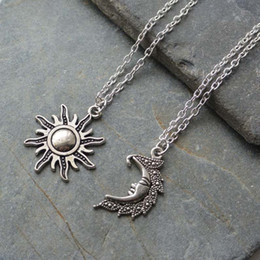 best wedding pendant Australia - 2020 new Silver Sun And Moon Necklaces chain Pair Of Celestial Best Friends Gift For Friend long Necklaces pendants men women