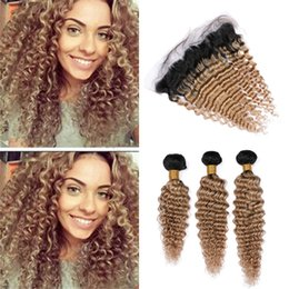 $enCountryForm.capitalKeyWord Australia - Indian Honey Blonde Ombre Curly Human Hair Bundles with Frontal Closure 1B 27 Light Brown Deep Wave Virgin Hair and Lace Frontals