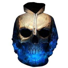 Discount skull hoodies wholesale - Cloudstyle Skulls Hoodies Pop Tideing Hooded Sweatshirt Streetwear Style Pullover Plus Size Sportwear 2d Tracksuits Plus